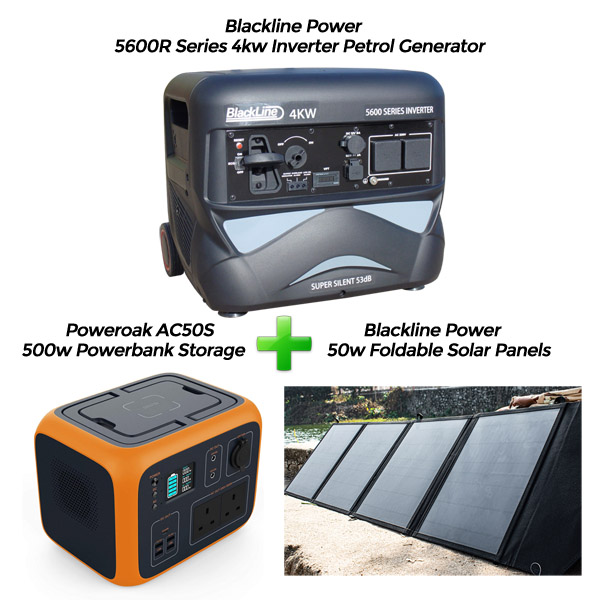 Blackline 4kw Inverter Generator + PowerOak + 50w Solar Panels