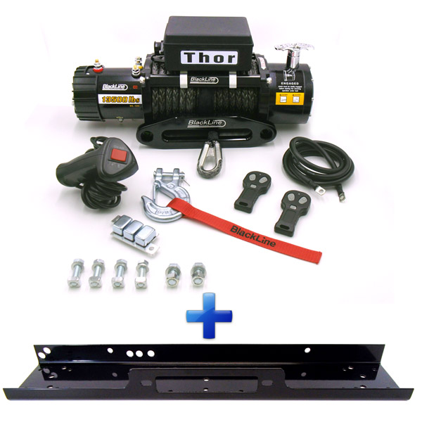 Blackline Thor 4x4 13500lb Rope Winch & Mount Plate