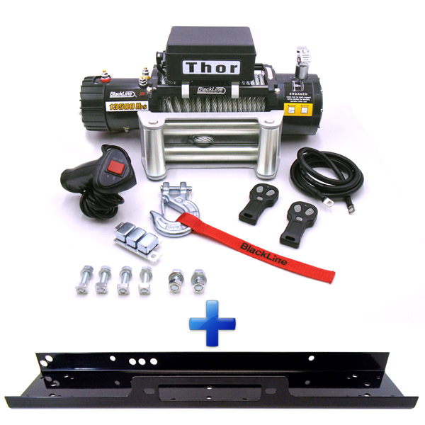 Blackline Thor 4x4 13500lb Wire Winch & Mount Plate